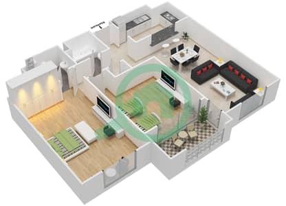 المخططات الطابقية لتصميم النموذج G-ANSAM 4 شقة 2 غرفة نوم - أنسام
