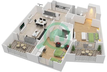 المخططات الطابقية لتصميم النموذج G-ANSAM 1 شقة 2 غرفة نوم - أنسام