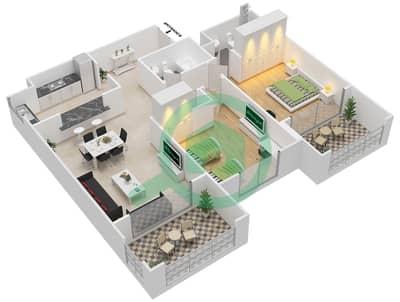 المخططات الطابقية لتصميم النموذج F-ANSAM 1 شقة 2 غرفة نوم - أنسام