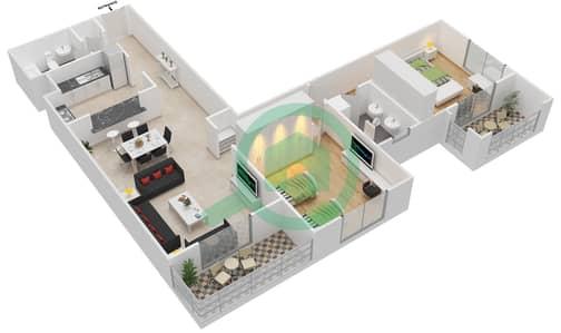 المخططات الطابقية لتصميم النموذج F-ANSAM 4 شقة 2 غرفة نوم - أنسام