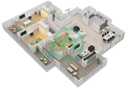 المخططات الطابقية لتصميم النموذج F-ANSAM 2,3 شقة 3 غرف نوم - أنسام