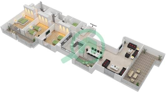المخططات الطابقية لتصميم النموذج F-ANSAM 4 شقة 3 غرف نوم - أنسام