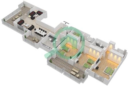 المخططات الطابقية لتصميم النموذج E-ANSAM 4 شقة 3 غرف نوم - أنسام