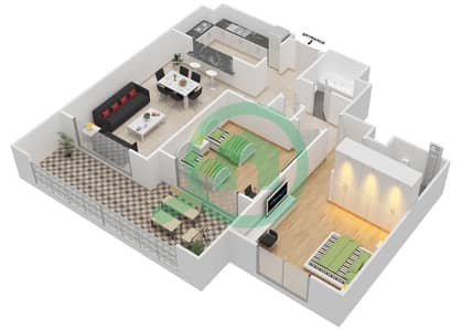 المخططات الطابقية لتصميم النموذج E-ANSAM 1 شقة 2 غرفة نوم - أنسام
