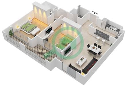 المخططات الطابقية لتصميم النموذج E-ANSAM 4 شقة 2 غرفة نوم - أنسام