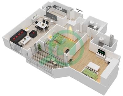 المخططات الطابقية لتصميم النموذج E-ANSAM 2,3 شقة 2 غرفة نوم - أنسام