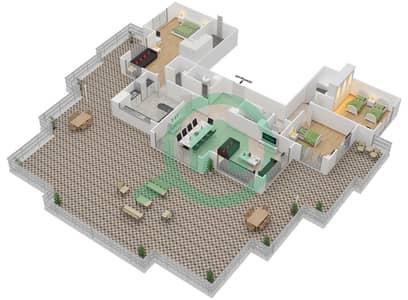 المخططات الطابقية لتصميم النموذج D-ANSAM 4 شقة 3 غرف نوم - أنسام