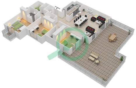 المخططات الطابقية لتصميم النموذج D-ANSAM 2,3 شقة 3 غرف نوم - أنسام