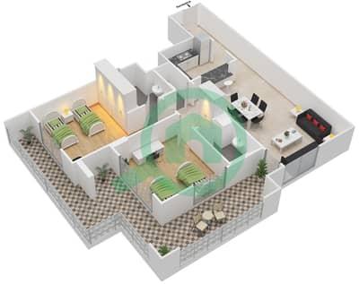 المخططات الطابقية لتصميم النموذج D-ASNAM 1 شقة 2 غرفة نوم - أنسام