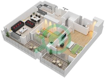 المخططات الطابقية لتصميم النموذج D-ANSAM 4 شقة 2 غرفة نوم - أنسام