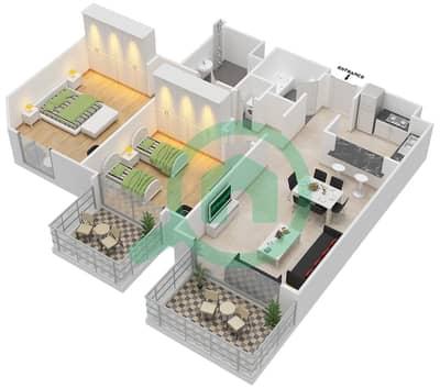 المخططات الطابقية لتصميم النموذج D-ANSAM 2,3 شقة 2 غرفة نوم - أنسام