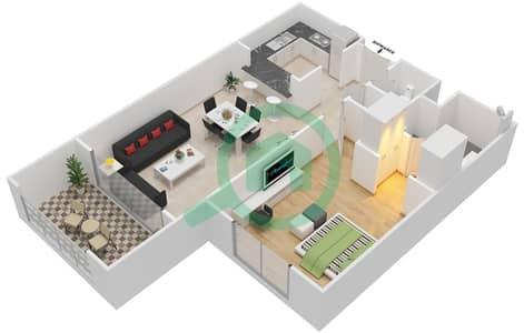 المخططات الطابقية لتصميم النموذج C-ANSAM 4 شقة 1 غرفة نوم - أنسام
