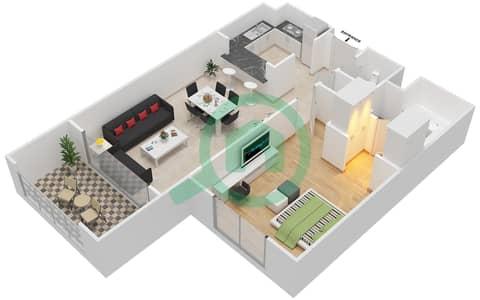 المخططات الطابقية لتصميم النموذج A-ANSAM 4 شقة 1 غرفة نوم - أنسام