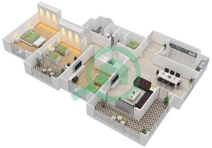 المخططات الطابقية لتصميم النموذج C-ANSAM 4 شقة 3 غرف نوم - أنسام