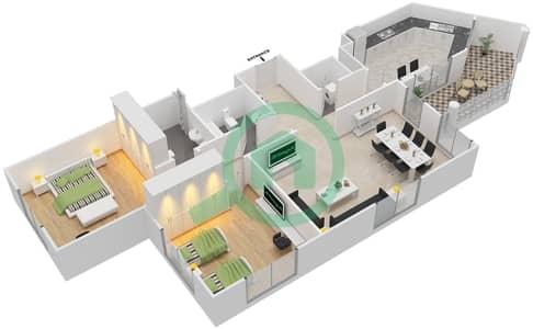 المخططات الطابقية لتصميم النموذج C-ANSAM 1 شقة 2 غرفة نوم - أنسام