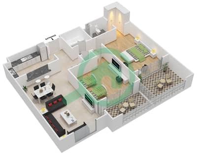 المخططات الطابقية لتصميم النموذج C-ANSAM 4 شقة 2 غرفة نوم - أنسام