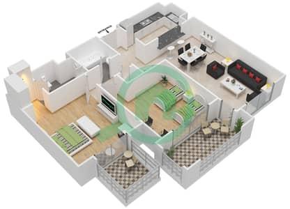 المخططات الطابقية لتصميم النموذج C-ANSAM 2,3 شقة 2 غرفة نوم - أنسام