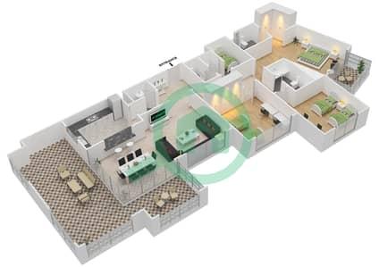 المخططات الطابقية لتصميم النموذج C-ANSAM 1 شقة 3 غرف نوم - أنسام