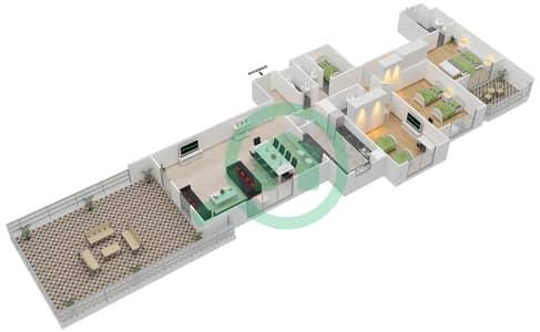 المخططات الطابقية لتصميم النموذج C-ANSAM 2,3 شقة 3 غرف نوم - أنسام