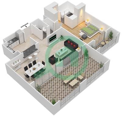 المخططات الطابقية لتصميم النموذج B-ANSAM 1 شقة 1 غرفة نوم - أنسام