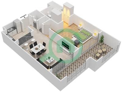المخططات الطابقية لتصميم النموذج B-ANSAM 2,3 شقة 1 غرفة نوم - أنسام