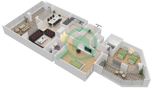 المخططات الطابقية لتصميم النموذج B-ANSAM 1 شقة 2 غرفة نوم - أنسام