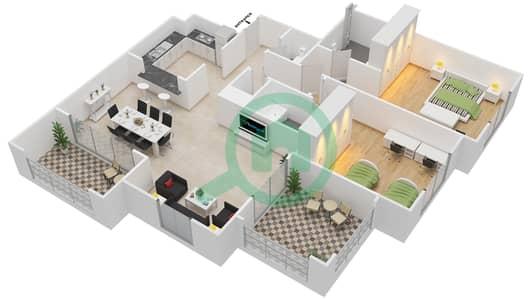 المخططات الطابقية لتصميم النموذج B-ANSAM 2,3 شقة 2 غرفة نوم - أنسام
