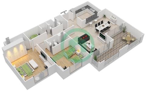 المخططات الطابقية لتصميم النموذج B-ANSAM 4 شقة 2 غرفة نوم - أنسام