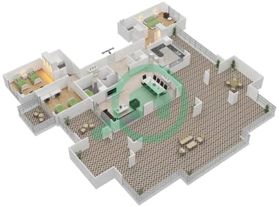 المخططات الطابقية لتصميم النموذج B-ANSAM 1 شقة 3 غرف نوم - أنسام