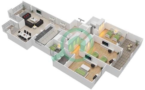 المخططات الطابقية لتصميم النموذج B-ANSAM 2,3 شقة 3 غرف نوم - أنسام