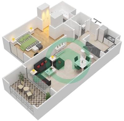 المخططات الطابقية لتصميم النموذج A-ANSAM 1 شقة 1 غرفة نوم - أنسام
