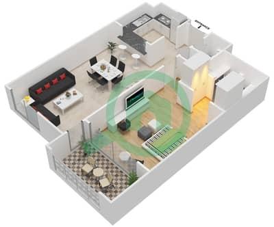 المخططات الطابقية لتصميم النموذج A-ANSAM 2,3 شقة 1 غرفة نوم - أنسام