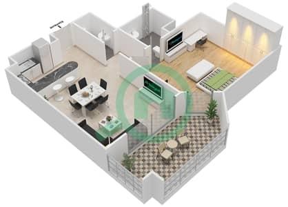 المخططات الطابقية لتصميم النموذج C-ANSAM 2,3 شقة 1 غرفة نوم - أنسام