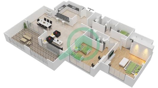 المخططات الطابقية لتصميم النموذج A-ANSAM 1 شقة 2 غرفة نوم - أنسام