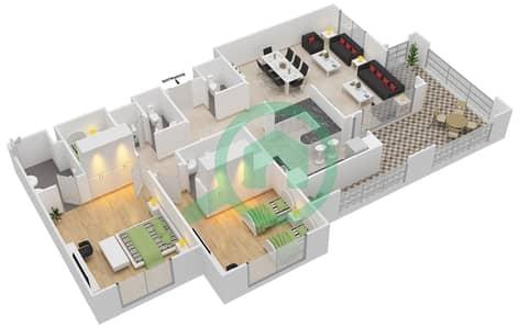 المخططات الطابقية لتصميم النموذج A-ANSAM 2,3 شقة 2 غرفة نوم - أنسام