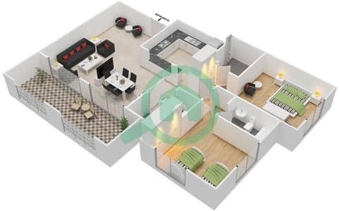 المخططات الطابقية لتصميم النموذج A-ANSAM 4 شقة 2 غرفة نوم - أنسام