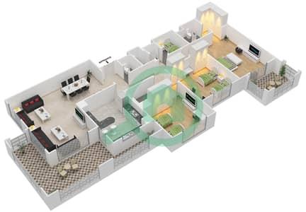 المخططات الطابقية لتصميم النموذج A-ANSAM 2,3 شقة 3 غرف نوم - أنسام