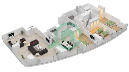 المخططات الطابقية لتصميم النموذج T2-3F شقة 3 غرف نوم - أبراج الإتحاد