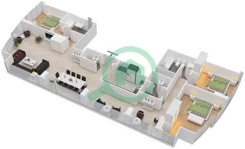المخططات الطابقية لتصميم النموذج T5-3F شقة 3 غرف نوم - أبراج الإتحاد