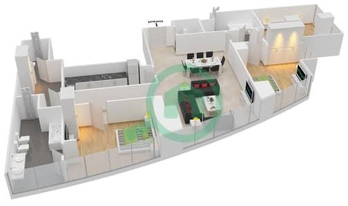 المخططات الطابقية لتصميم النموذج T2-3E شقة 3 غرف نوم - أبراج الإتحاد
