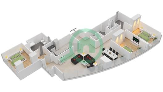 المخططات الطابقية لتصميم النموذج T5-3E شقة 3 غرف نوم - أبراج الإتحاد