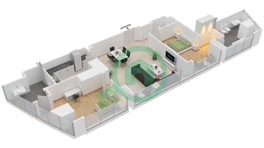 المخططات الطابقية لتصميم النموذج T2-2B شقة 2 غرفة نوم - أبراج الإتحاد