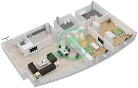 المخططات الطابقية لتصميم النموذج T4-2B شقة 2 غرفة نوم - أبراج الإتحاد