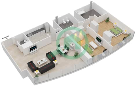 Etihad Towers - 2 Bedroom Apartment Type T4-2B Floor plan