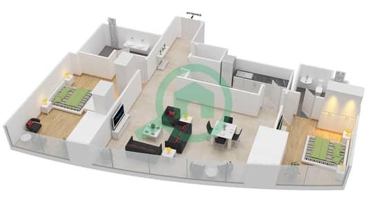 المخططات الطابقية لتصميم النموذج T2-2A شقة 2 غرفة نوم - أبراج الإتحاد