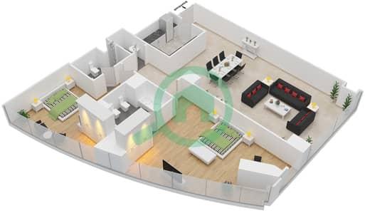 المخططات الطابقية لتصميم النموذج T4-2A شقة 2 غرفة نوم - أبراج الإتحاد
