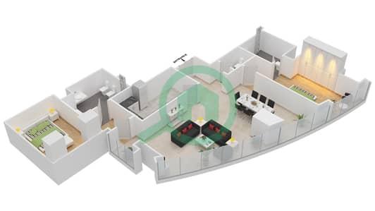 المخططات الطابقية لتصميم النموذج T5-2A شقة 2 غرفة نوم - أبراج الإتحاد