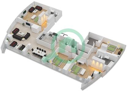 المخططات الطابقية لتصميم النموذج T5-2A شقة 4 غرف نوم - أبراج الإتحاد