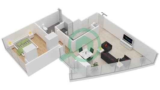 المخططات الطابقية لتصميم النموذج T4-1A شقة 1 غرفة نوم - أبراج الإتحاد