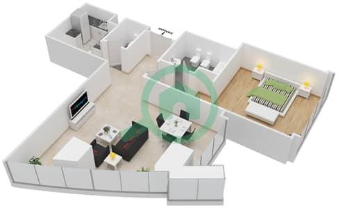 المخططات الطابقية لتصميم النموذج T2-1A شقة 1 غرفة نوم - أبراج الإتحاد